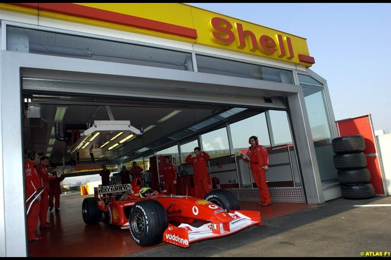 Felipe Massa debuts as testing driver for Ferrari. Fiorano, Italy. 21st February 2003.