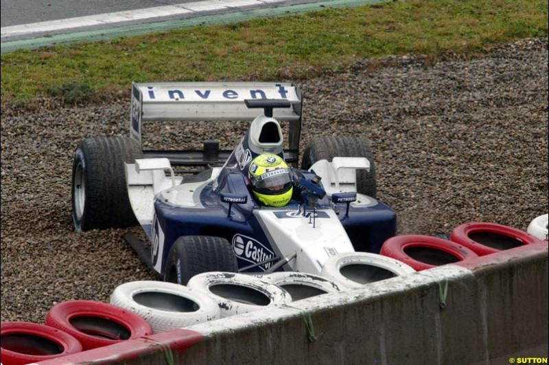 Ralf Schumacher, Williams, during testing at the Barcelona circuit, Spain. 20th February, 2003.