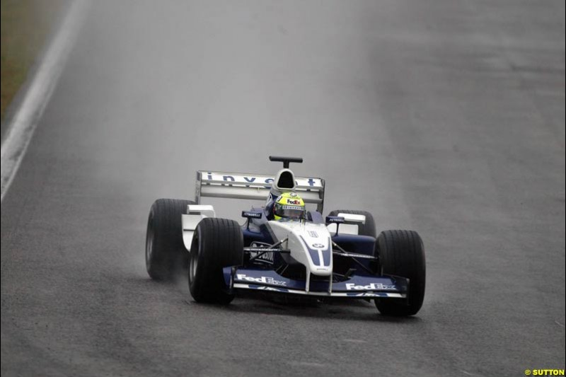 Ralf Schumacher, Williams, during testing at the Barcelona circuit, Spain. 19th February, 2003.