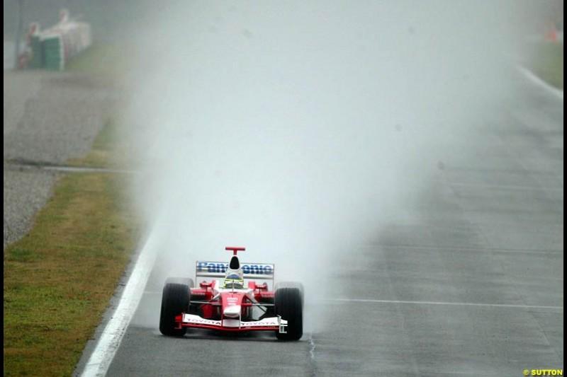 Cristiano da Matta, Toyota, during testing at the Barcelona circuit, Spain. 19th February, 2003.