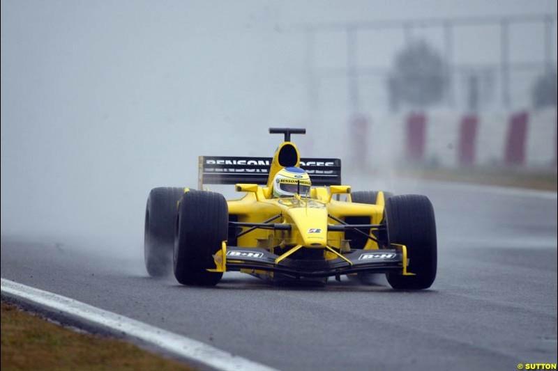 Giancarlo Fisichella, Jordan, during testing at the Barcelona circuit, Spain. 19th February, 2003.