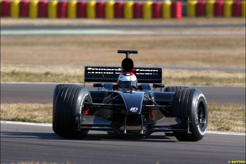 Jos Verstappen makes his first test in the Minardi PS03. Formula One Testing , Minardi debut the Minardi Cosworth PS03, Fiorano, Maranello, Italy.