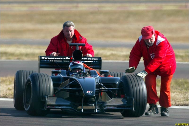 Jos Verstappen (HOL) breaks down whilst performing the first test for the Minardi PS03. Formula One Testing, Minardi debut the Minardi Cosworth PS03, Fiorano, Maranello, Italy.