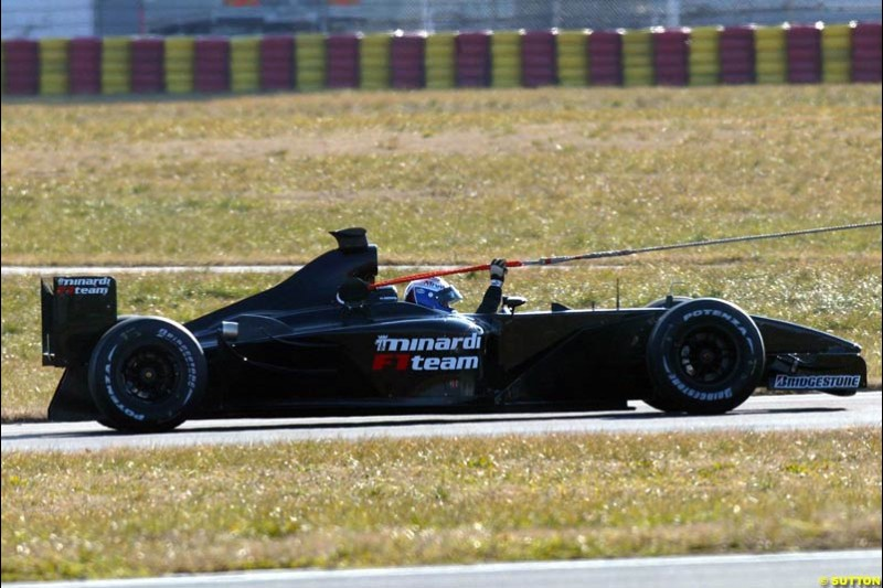 Jos Verstappen breaks down whilst performing the first test for the Minardi PS03. Formula One Testing, Minardi debut the Minardi Cosworth PS03, Fiorano, Maranello, Italy.
