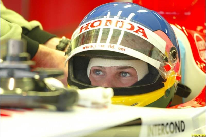 Jacques Villeneuve, BAR, during testing at Barcelona, Spain. 18th February 2003.