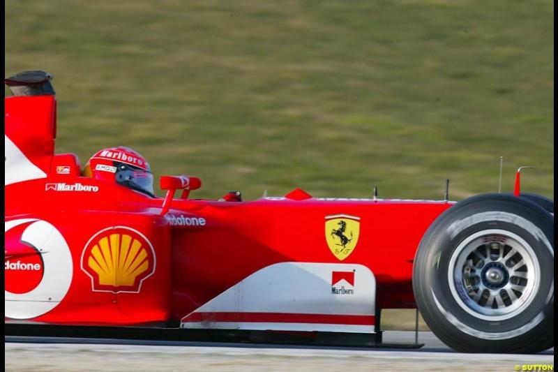 Michael Schumacher, Ferrari, during testing at Imola. Italy, 18th February 2003.