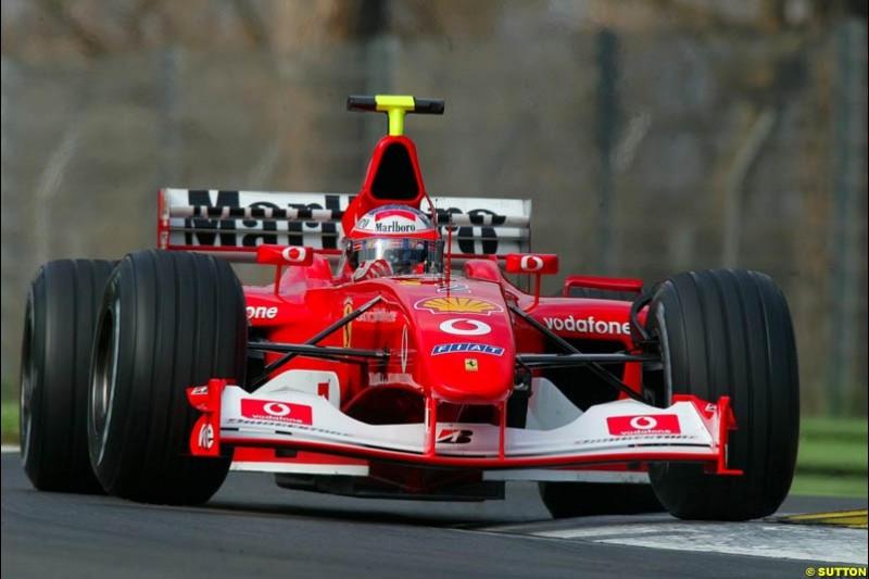 Rubens Barrichello, Ferrari, during testing at Imola. Italy, 18th February 2003.