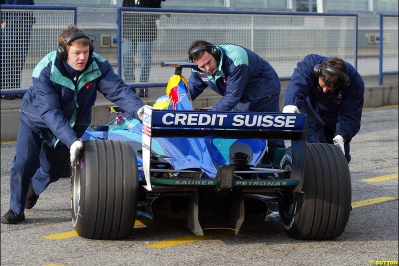 Sauber during testing at the Imola circuit in Italy. 17th February, 2003.