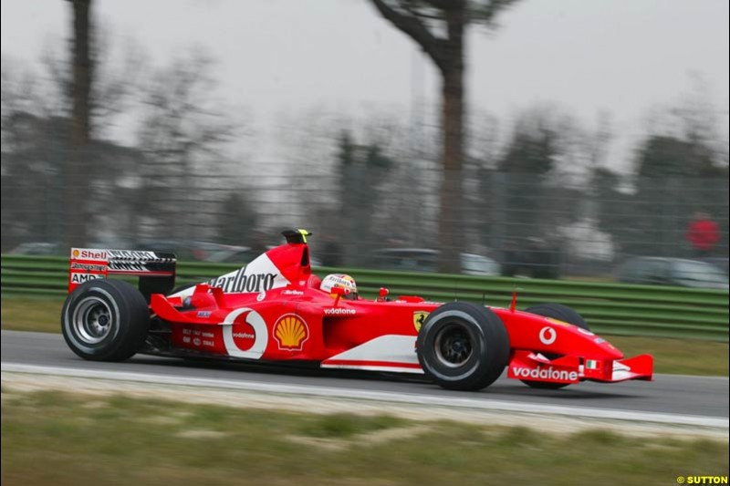 Ferrari during testing at the Imola circuit in Italy. 17th February, 2003.