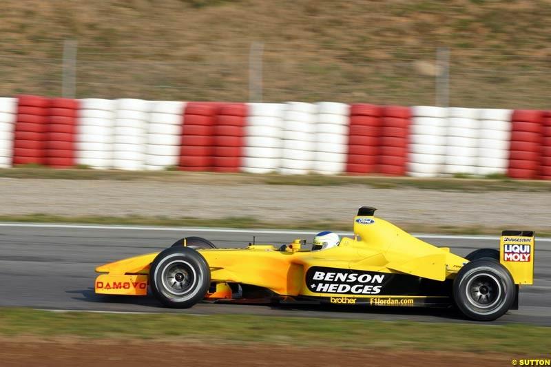 Giancarlo Fisichella, Jordan EJ13, during testing at the Barcelona circuit in Spain. 17th February, 2003.
