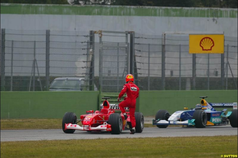 Michael Schumacher's Ferrari F2003-GA breaks down during testing at the Imola circuit in Italy. 17th February, 2003.