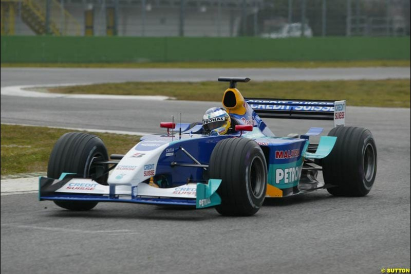 Nick Heidfeld, Sauber, during testing at the Imola circuit in Italy. 17th February, 2003.