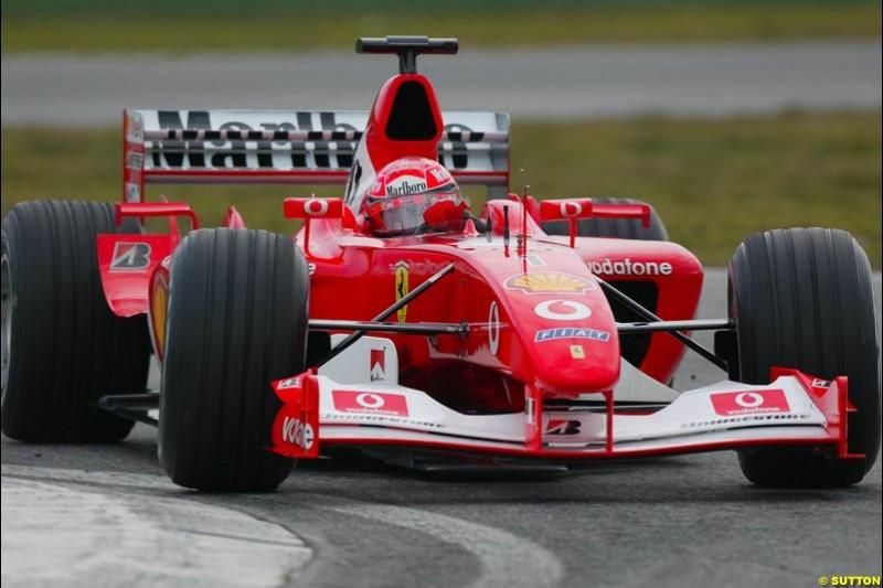 Michael Schumacher, Ferrari F2003-GA, during testing at the Imola circuit in Italy. 17th February, 2003.