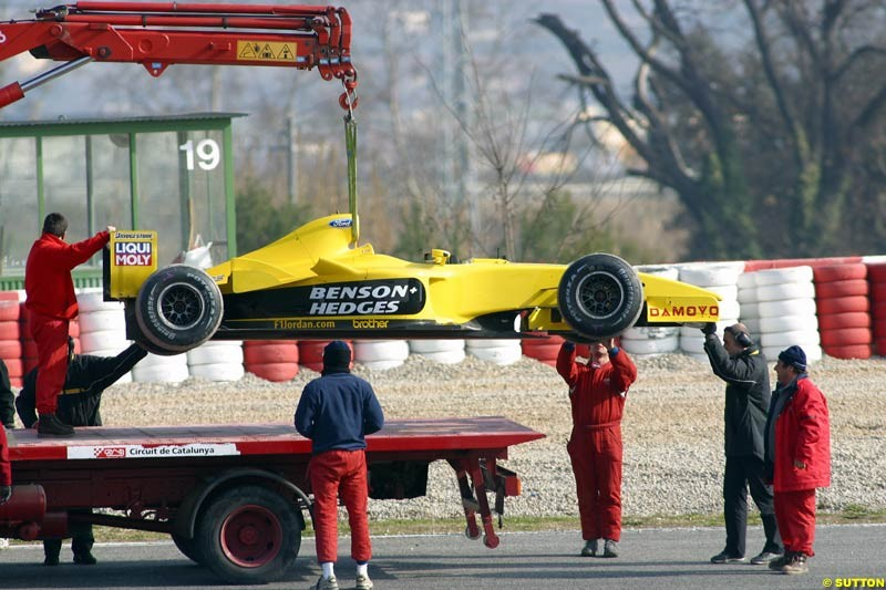 Ralph Firman's Jordan breaks down during testing at the Barcelona circuit in Spain. 17th February, 2003.