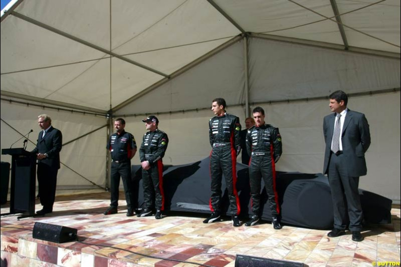 Minardi launch their PS03 car in Federation Square in Melbourne, Australia. March 5th 2003.