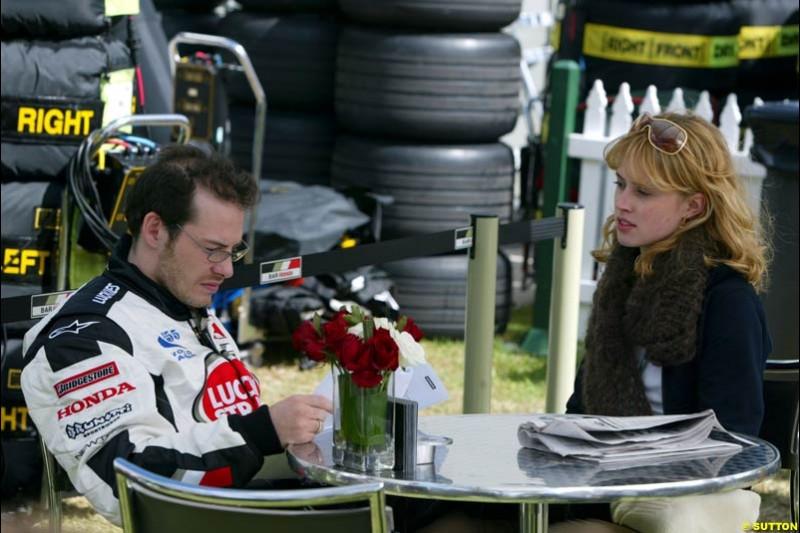 Jacques Villeneuve, BAR, and girlfriend Ellie Green. Saturday, Australian GP, March 8th 2003.