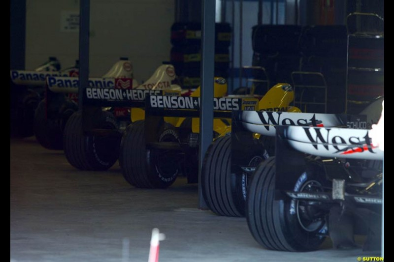 All 18 cars (without the two Minardis) are held at Parc Ferme overnight prior to the race. Saturday, Australian GP, March 8th 2003.