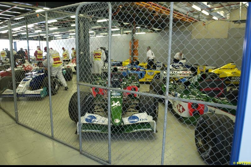 Parce Ferme after Saturday qualifying for the Australian GP. Melbourne, March 8th 2003.
