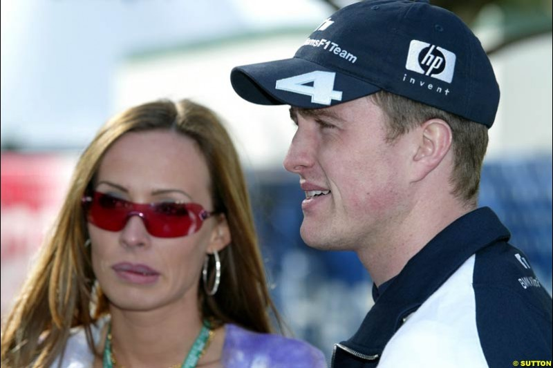 Ralf Schumacher and wife Cora after qualifying for the Australian GP. Melbourne, March 8th 2003.