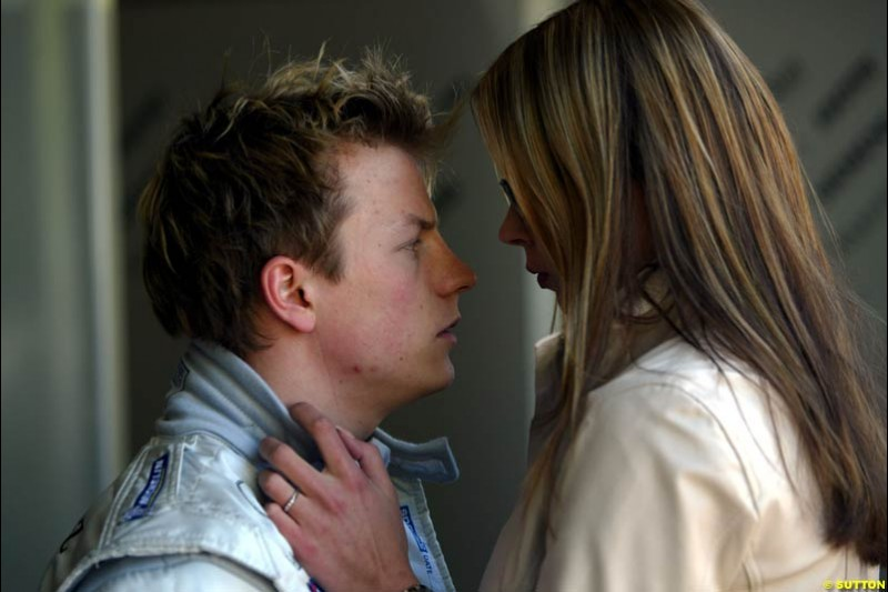 Kimi Raikkonen and his girlfriend Jenni Dahlman after qualifying for the Australian GP. Melbourne, March 8th 2003.