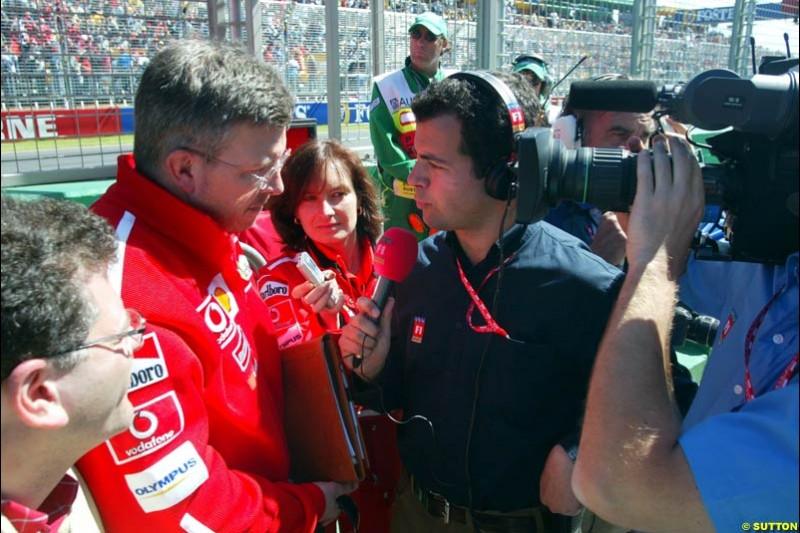 Ferrari's Ross Brawn after Saturday's qualifying for the Australian GP. Melbourne, March 8th 2003.