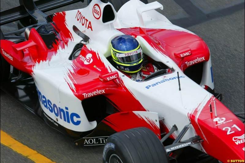 Cristiano da Matta, Toyota, during Saturday's qualifying for the Australian GP. Melbourne, March 8th, 2003.