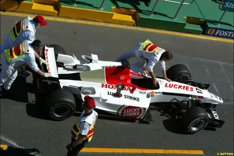 Jenson Button's BAR pushed to Parc Ferme after Saturday's qualifying for the Australian GP. Melbourne, March 8th, 2003.