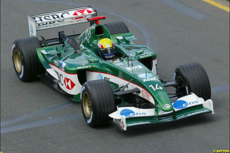 Mark Webber, Jaguar, during Saturday's qualifying for the Australian GP. Melbourne, March 8th, 2003.