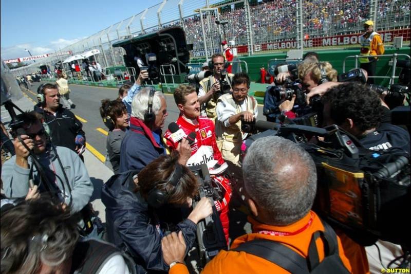 Michael Schumacher, Ferrari, after Saturday's qualifying for the Australian GP. Melbourne, March 8th, 2003.