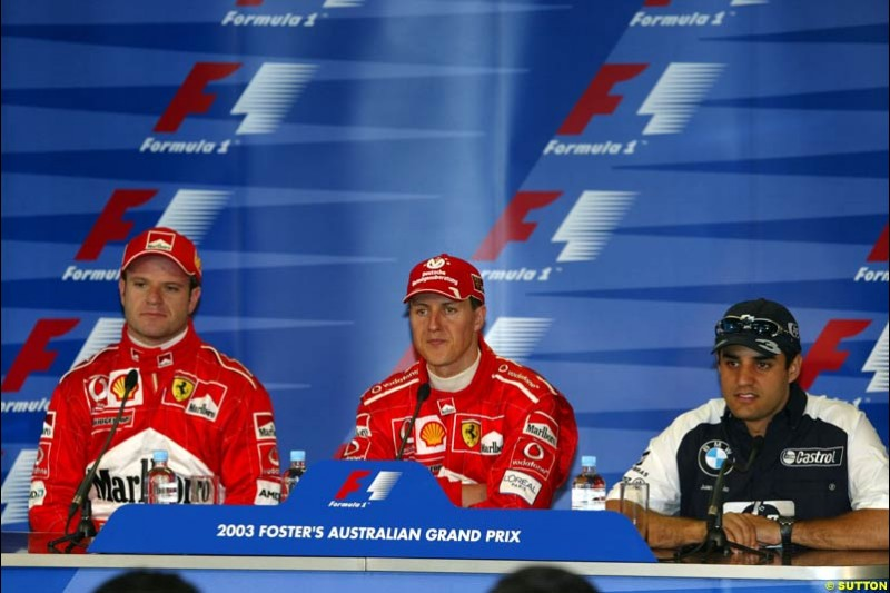 The post-qualifying press conference after Saturday's qualifying for the Australian GP. Melbourne, March 8th, 2003.