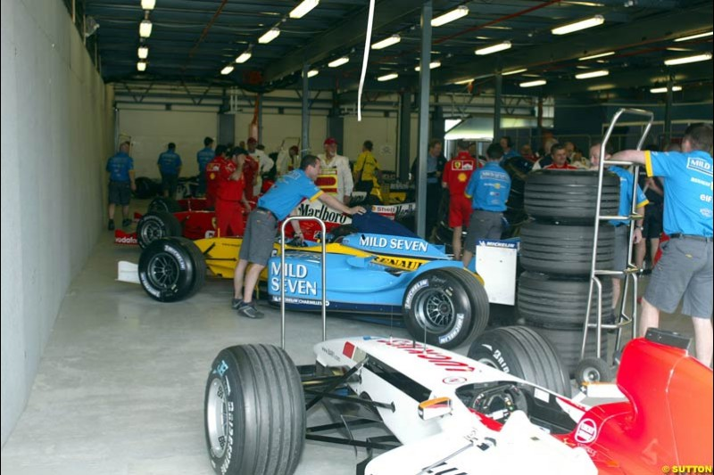Parc Ferme after Saturday's qualifying for the Australian GP. Melbourne, March 8th, 2003.