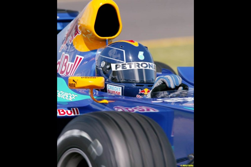 Heinz Harald Frentzen, Sauber, during Saturday qualifying for the Australian GP. Melbourne, March 8th 2003.