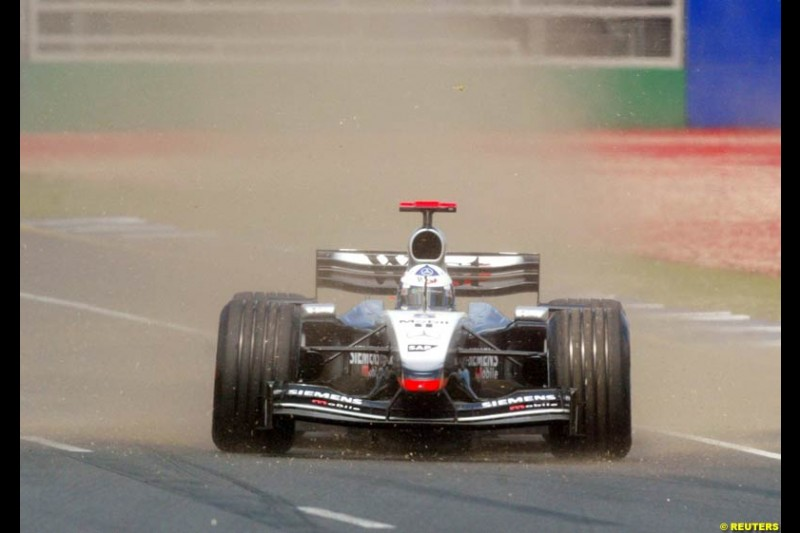 David Coulthard, McLaren, during Saturday qualifying for the Australian GP. Melbourne, March 8th 2003.