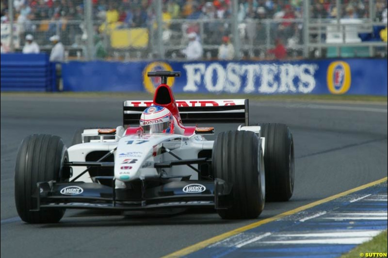 Jenson Button, BAR, during Saturday qualifying for the Australian GP. Melbourne, March 8th 2003.