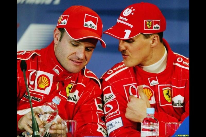 Rubens Barrichello and Michael Schumacher, Ferrari, at the post-qualifying press conference. Australian GP, Melbourne, March 8th 2003.