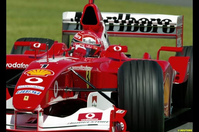 Michael Schumacher, Ferrari, during Saturday's qualifying for the Australian GP. Melbourne, March 8th 2003.
