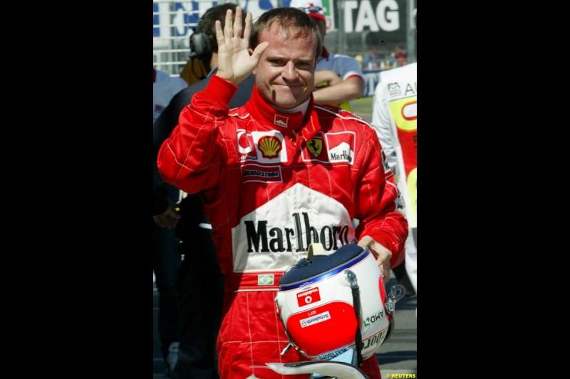 Rubens Barrichello, Ferrari, after Saturday's qualifying for the Australian GP. Melbourne, March 8th 2003.