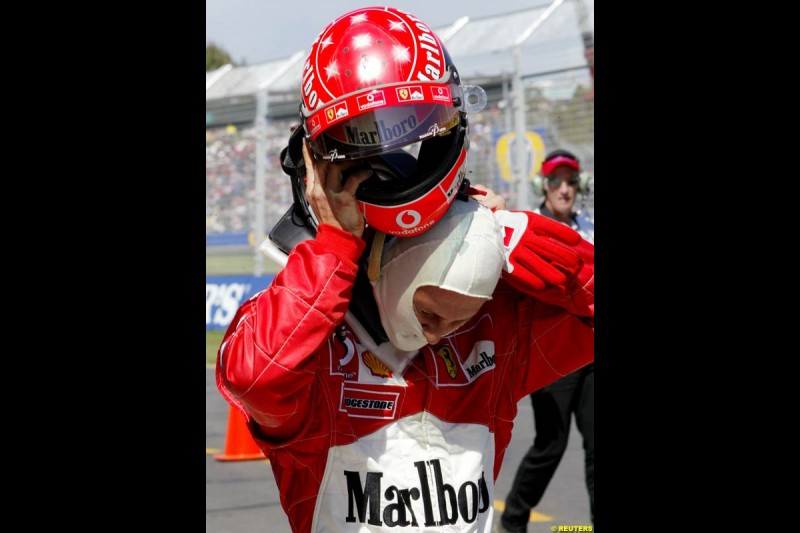 Michael Schumacher, Ferrari, after setting the fastest time in Saturday's qualifying for the Australian GP. Melbourne, March 8th 2003.