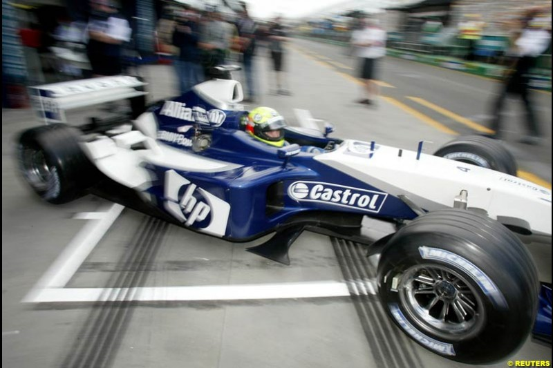 Ralf Schumacher, Williams, during Saturday practice for the Australian GP. Melbourne, March 8th 2003.