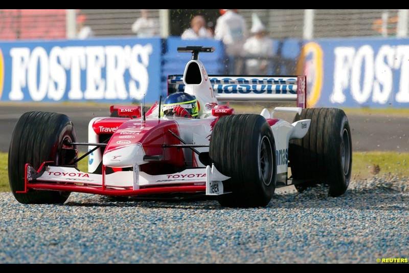 Cristiano da Matta, Toyota, during Saturday's free practice for the Australian GP. Melbourne, March 8th 2003.