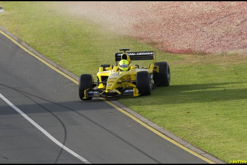 Ralph Firman, Jordan, has an off-track trip during Saturday's free practice for the Australian GP. Melbourne, March 8th 2003.