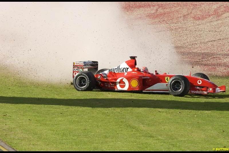 Michael Schumacher, Ferrari, crashes during Saturday practice for the Australian GP. Melbourne, March 8th 2003.