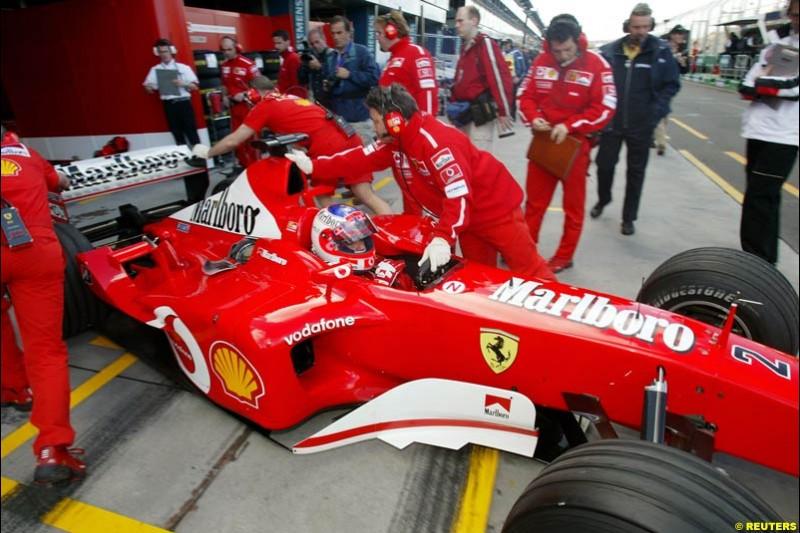 Rubens Barrichello, Ferrari, during Saturday practice. Australian GP, Melbourne. March 8th 2003.
