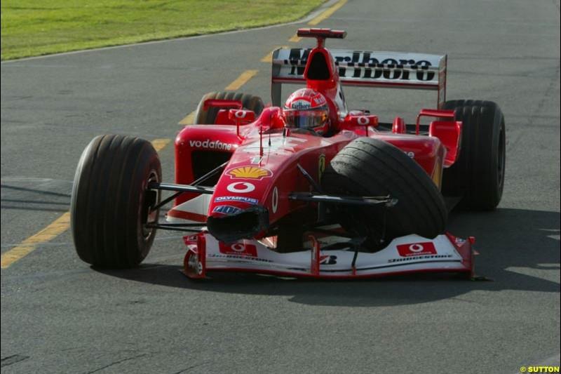 Michael Schumacher's damaged car. Saturday practice. Australian GP, Melbourne. March 8th 2003.