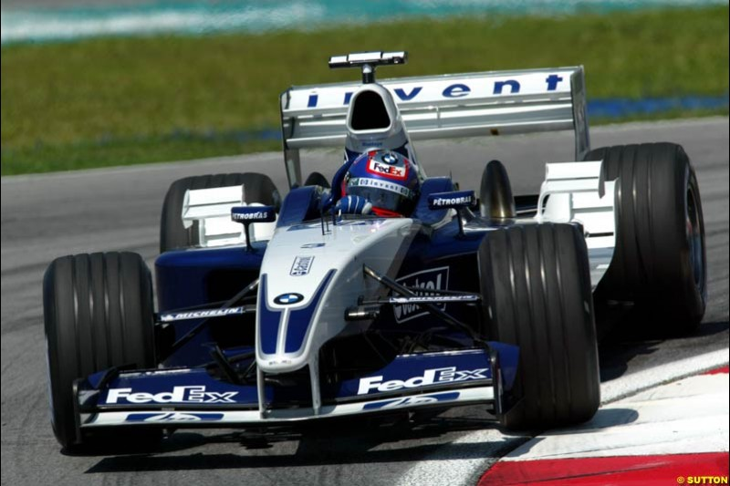 Juan Pablo Montoya, Williams. Friday qualifying for the Malaysian GP. Sepang International Circuit, March 21st 2003.