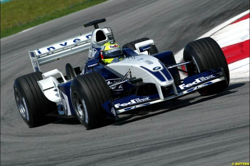 Ralf Schumacher, Williams. Friday qualifying for the Malaysian GP. Sepang International Circuit, March 21st 2003.