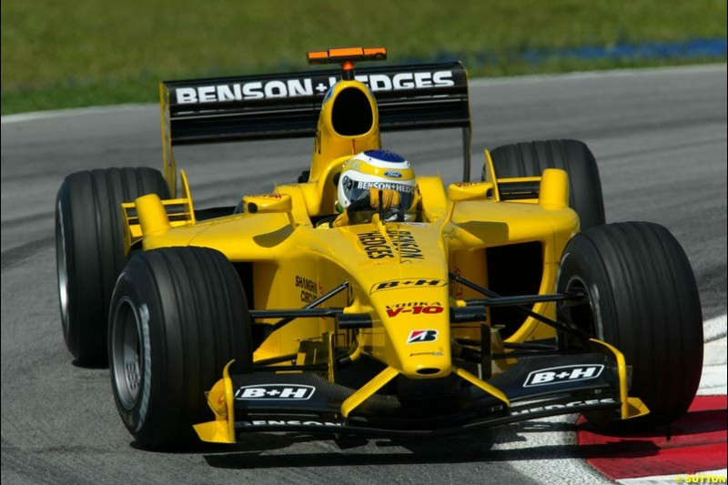 Giancarlo Fisichella, Jordan. Friday qualifying for the Malaysian GP. Sepang International Circuit, March 21st 2003.