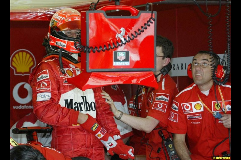 Michael Schumacher, Ferrari. Friday qualifying for the Malaysian GP. Sepang International Circuit, March 21st 2003.