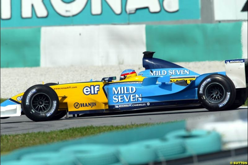 Fernando Alonso, Renault. Friday qualifying for the Malaysian GP. Sepang International Circuit, March 21st 2003.