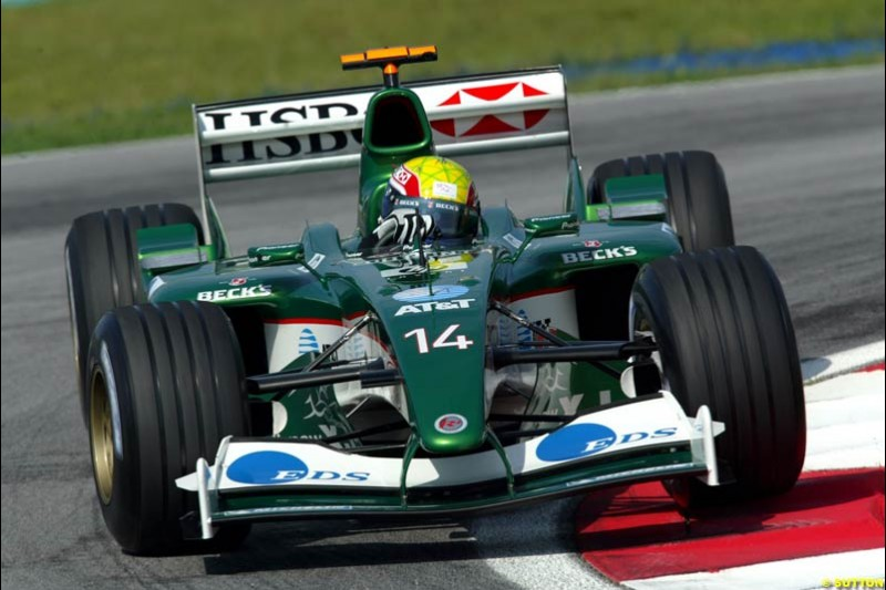 Mark Webber, Jaguar. Friday qualifying for the Malaysian GP. Sepang International Circuit, March 21st 2003.